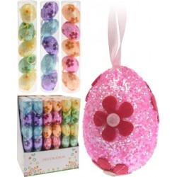 Decorazioni pasquali, Set 6 pezzi Uova di pasqua con fiore e glitter 6 cm