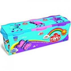 Dido' TRIS barattoli di pasta per giocare 220G nei colori azzurro/viola/rosa