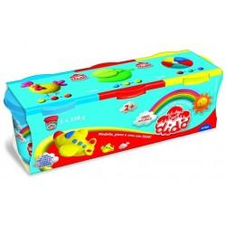 Dido' TRIS barattoli di pasta per giocare 220G nei colori giallo, rosso ed azzurro