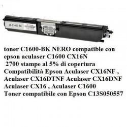 TONER EPSON C1600 BK RIGENERATO NO OEM C13S050557