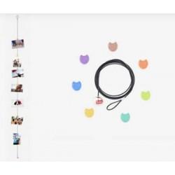 Filo Magnetico Portafoto con 7 Ferma-foto inclusi a Forma di Gufetti
