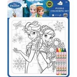 Frozen Puzzle da colorare 20 pezzi (18X18CM) con 4 pastelli a cera