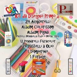 Kit da Disegno Primo 2 : 24 Acquerelli, Album Colorissimi, Album Pigna, Pastelli Minabella Fluo e Metal 12pz, 12 Pennarelli Fib