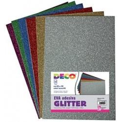 10 Fogli Gomma Crepla Glitterata Adesiva Deco A4 colori Assortiti