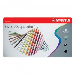 Pastelli Stabilo Aquacolor 36pz Scatola Metallo