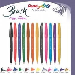 Penna Pentel Brush Sign Pen Punta fibra a Pennello