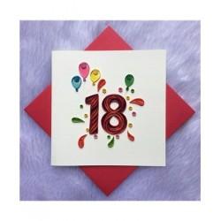 Biglietto D'Auguri Origamo ''18 Anni''' Quilling