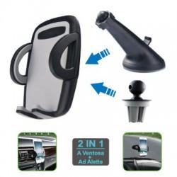 SUPPORTO AUTO UNIVERSALE PER SMARTPHONE 2 IN 1 WIMITECH