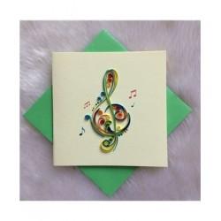 Biglietto D'Auguri Origamo ''Chiave di Violino''' Quilling