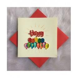 Biglietto D'Auguri Origamo ''Happy Birthday Palloncini'' Quilling