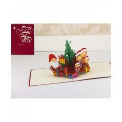 Biglietto D'Auguri Origamo ''La Famiglia Sotto L'albero''