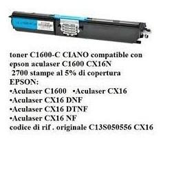 TONER EPSON C1600 CIANO RIGENERATO NO OEM C13S050556