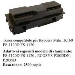 TONER RIGENERATO PER KYOCERA TK160 FS1120DN P2035D