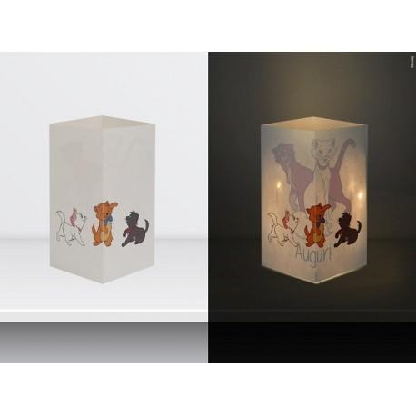 """W-LAMP BIGLIETTO D'AUGURI LAMPADA LED """" GLI ARISTOGATTI"""" DISNEY COLLECTION S H15 CM"""