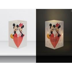 """W-LAMP BIGLIETTO D'AUGURI LAMPADA LED """"MICKEY E MINNIE LOVE"""" DISNEY COLLECTION S H15 CM"""