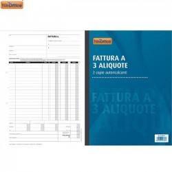 BLOCCO FATTURE 3 ALIQUOTE 50/50 DUPLICE COPIA NIKOFFICE 41NIK012  21,5x29,5 VERTICALE