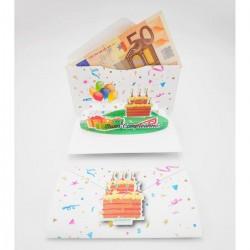 """Biglietto Auguri Porta Soldi Origamo """"Torta Buon Compleanno"""""""