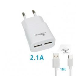 CARICABATTERIA 2 USB 2.1A CON CAVO  USB TIPO C WIMITECH