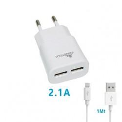 CARICABATTERIA 2 USB 2.1A CON CAVO MICRO USB