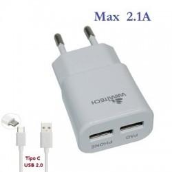 Caricatore da rete con doppia porta USB tipo C max 2.1A