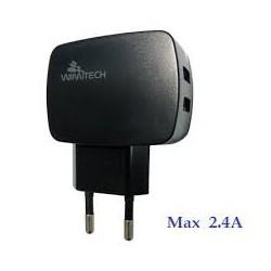 CARICATORE DA RETE MAX2.4A USB X 2 WIMITECH