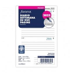Ricambio Filofax 2022 81x120mm settimana su 2 pagine